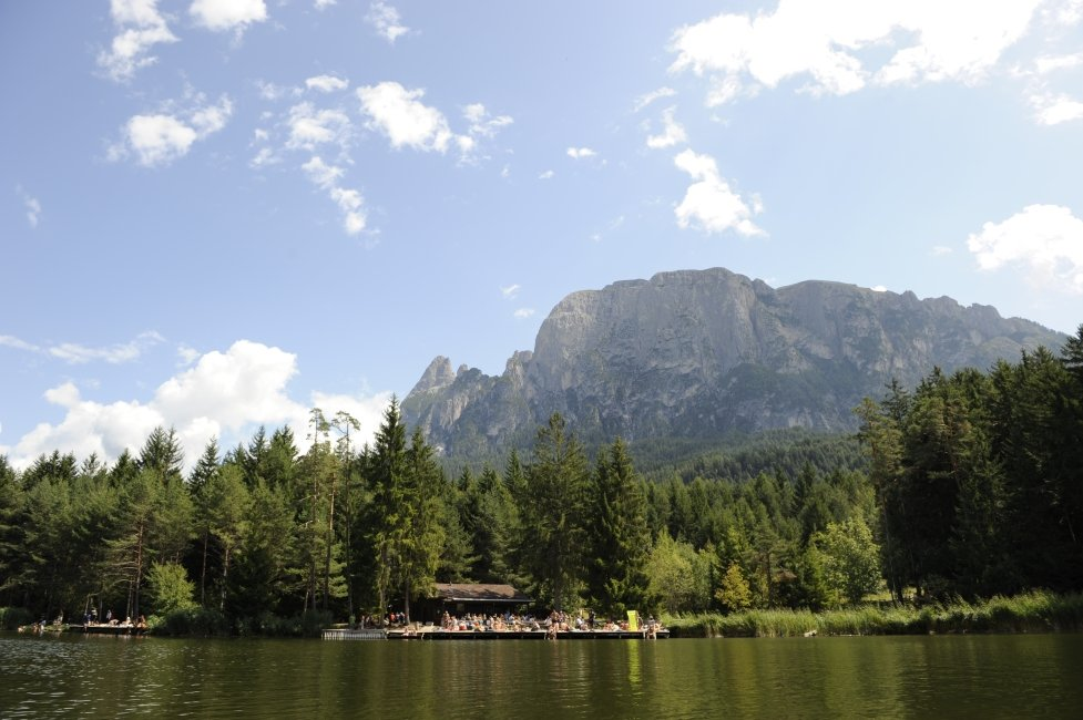 Free time and bath fun in a summer holiday in the Dolomites